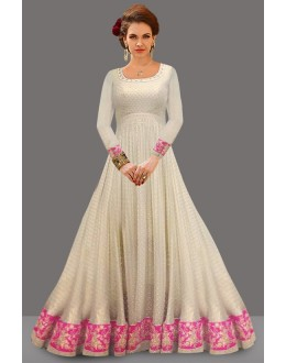 Festival Wear Cream Soft Net Anarkali Suit  - 71055