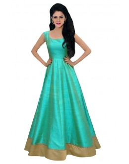 Fancy Green & Cream Banglori Silk Gown - 71139