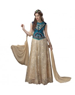 Party Wear Blue & Beige Brasso Gown - 71146
