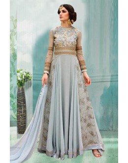 Party Wear Grey 60 Gm Georgette Anarkali Suit  - 71176A