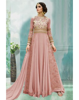 Designer Peach 60 Gm Georgette Anarkali Suit  - 71176B