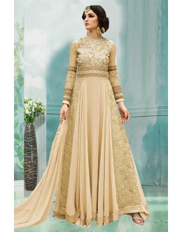 Festival Wear Cream 60 Gm Georgette Anarkali Suit  - 71176C