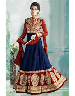 Wedding Wear Blue & Red Georgette Anarkali Suit  - 71178A