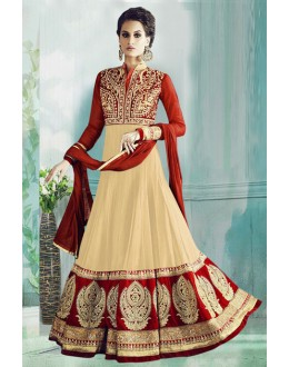 Festival Wear Cream & Red Georgette Anarkali Suit  - 71178B