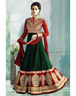 Wedding Wear Green & Red Georgette Anarkali Suit  - 71178C