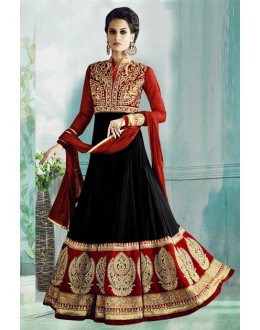 Party Wear Black & Red Georgette Anarkali Suit  - 71178D