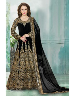 Bridal Wear Black Tafeta Silk Anarkali Suit  - 16156