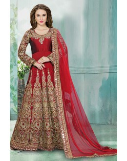 Tafeta Silk Red Embroidery Anarkali Suit  - 71186C
