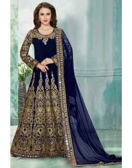 Wedding Wear Blue Tafeta Silk Anarkali Suit  - 16158