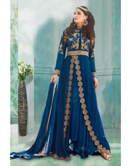 Georgette Blue Embroidery Anarkali Suit  - 71188B