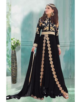 Party Wear Black Georgette Anarkali Suit  - 71188D