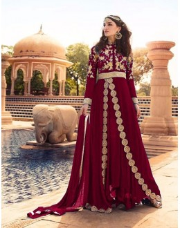 Festival Wear Maroon Georgette Anarkali Suit  - 71188A