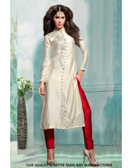 Festival Wear Off White Silk Salwar Suit - 71221