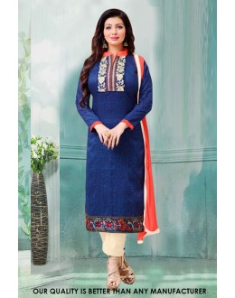 Ayesha Takia In Blue Cotton Salwar Suit - 71224