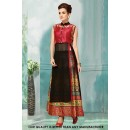 Ethnic Wear Black & Red Georgette Indo Western Suit - 71226