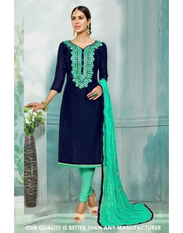 Festival Wear Navy Blue Chanderi Salwar Suit - 71227