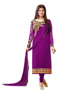 Ayesha Takia In Dark Purple Georgette Salwar Suit  - 71254A