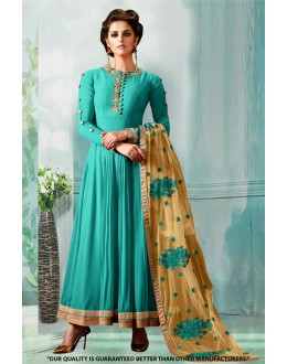 Festival Wear Green Georgette Anarkali Suit  - 71276D