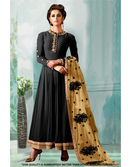 Ethnic Wear Black Georgette Anarkali Suit  - 71276F