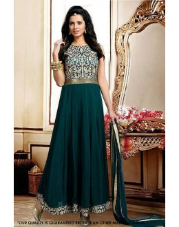 Festival Wear Oliva Green Georgette Anarkali Suit  - 71280
