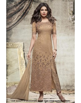 Priyanka Chopra In Golden Georgette Slit Salwar Suit  - 71303A