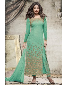 Priyanka Chopra In Green Georgette Slit Salwar Suit  - 71303E