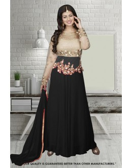 Ayesha Takia In Cream & Black Georgette Anarkali Suit  - 71304B