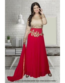 Ayesha Takia In Cream & Red Georgette Anarkali Suit  - 71304G
