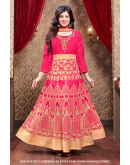 Ayesha Takia In Pink Silk Anarkali Suit  - 71305D