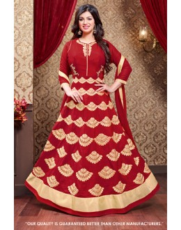 Ayesha Takia In Red Faux Georgette Anarkali Suit  - 71306A