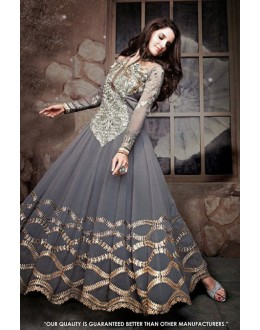 Wedding Wear Grey Georgette Anarkali Suit - 71311