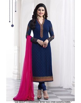 Prachi Desai In Navy Blue Georgette Salwar Suit - 71313