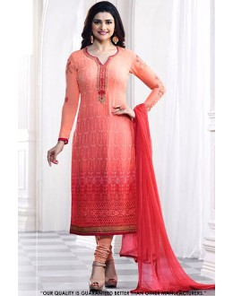 Prachi Desai In Peach & Red Georgette Salwar Suit - 71315