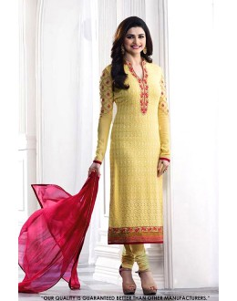 Prachi Desai In Yellow Georgette Salwar Suit - 71319
