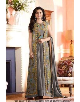 Wedding Wear Grey Georgette Anarkali Suit - 71323