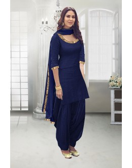 Wedding Wear Navy Blue Poly Cotton Patiyala Suit - 71324A