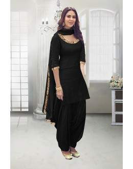 Party Wear Black Poly Cotton Patiyala Suit - 71324B