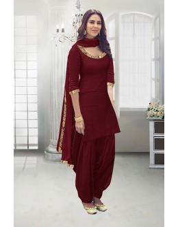 Casual Wear Maroon Poly Cotton Patiyala Suit - 71324C