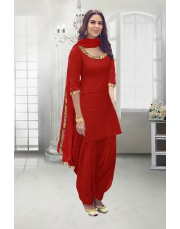 Traditional Wear Red Poly Cotton Patiyala Suit - 71324D