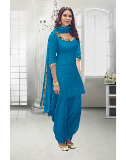Festival Wear Sky Blue Poly Cotton Patiyala Suit - 71324E