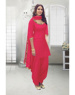 Wedding Wear Peach Poly Cotton Patiyala Suit - 71324F