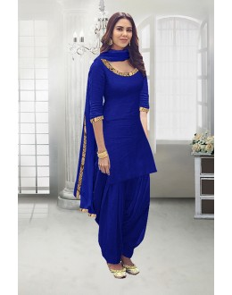 Casual Wear Royal Blue Poly Cotton Patiyala Suit - 71324H