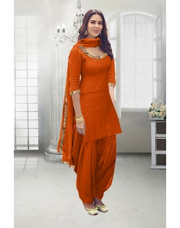 Festival Wear Orange Poly Cotton Patiyala Suit - 71324I