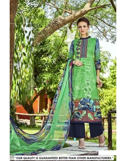 Party  Wear Green Cotton Salwar Suit - 71326
