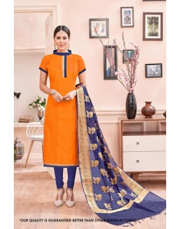 Party  Wear Orange Chanderi Cotton Salwar Suit - 71370