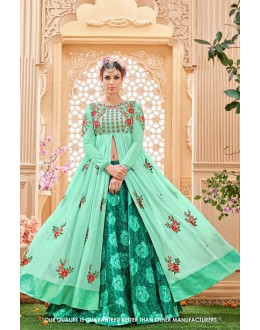 Ethnic Wear Green Georgette Lehenga Suit - 71381