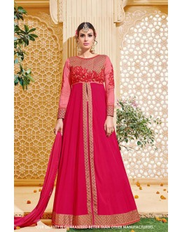 Traditional Wear Pink Georgette Lehenga Suit - 71382