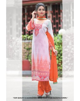Party  Wear Off White & Orange Georgette Salwar Suit - 71396