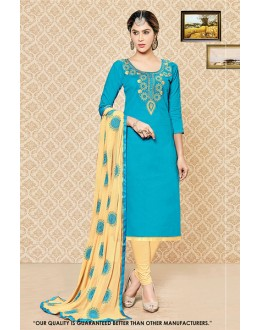 Party Wear Blue Cambric Cotton Salwar Suit - 71400