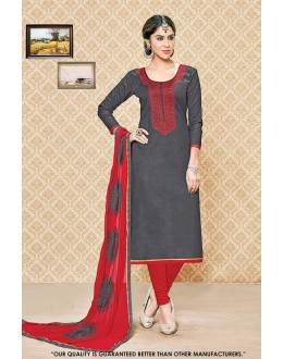 Party Wear Grey Cambric Cotton Salwar Suit - 71404